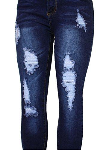 Womens 20 Denim Black 635 Ladies Blue Stretchy Pencil Slim Fit Ripped 6 Barfly Blue Tube Cut White Knee Waisted Jean Size High Skinny Fashion New CqWxnwpBt