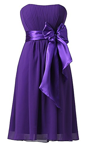 Ouman Sweetheart Bridesmaid Chiffon Prom Dresses Short Evening Gowns Purple L