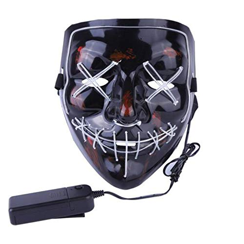 LIFOOST Halloween Scary Mask LED Light Up Party Masks Purge Funny Masks Festival Cosplay Costume Supplies Glow in Dark (Light Blue) ()
