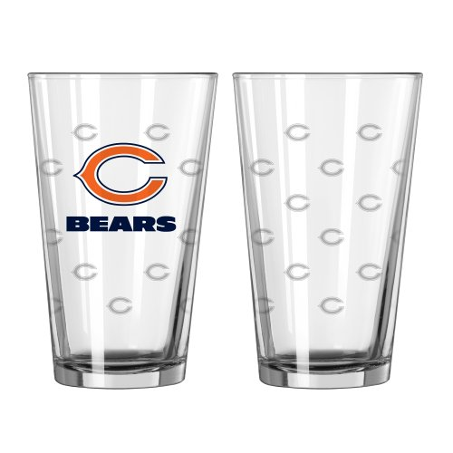 Boelter Brands NFL Chicago Bears Satin Etch Pint, 16-ounce, - Chicago Satin Bears
