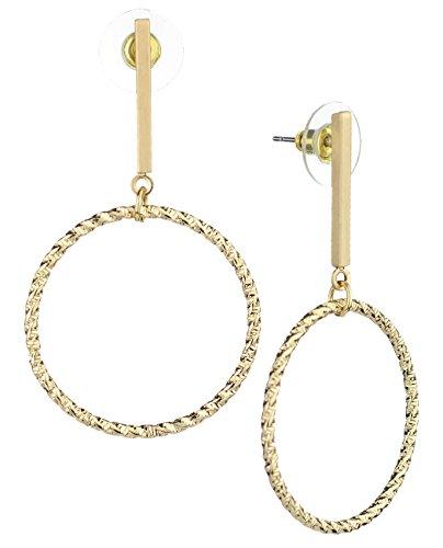 Satin Pierced Earrings - Women's Slim Bar Twisted Round Hoop Dangle Pierced Earrings, Satin Gold-Tone