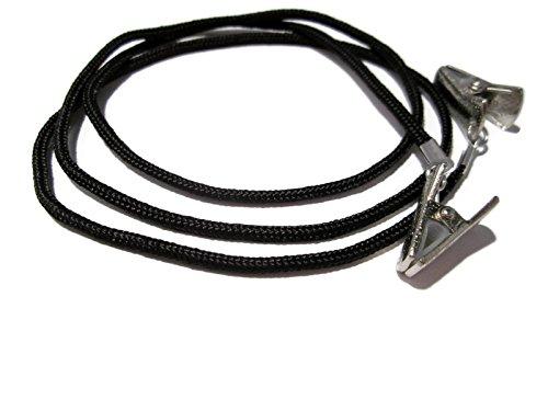 ATLanyards Small / Short Black Clip Eyeglass Chain, Eyeglass Holder, Eyeglass Cord, Eyeglass Strap, Silver Clips, 341