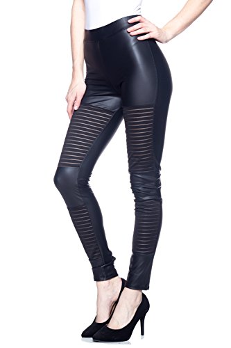 J2 LOVE Made in USA Faux Leather Mesh Panels Moto Legging (XS-5X)