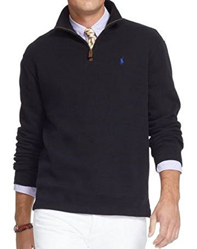 (Polo Ralph Lauren Men's French Rib Half-Zip Pullover, Polo Black, Small)