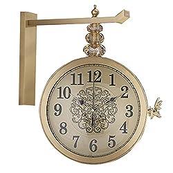 Wall Clocks Clocks Double-Sided Mute European Metal Deer Head Decoration Double-Sided Clocks Living Room Mute Two-Sided Wall Charts Creative Personality Clocks Mantel Clocks