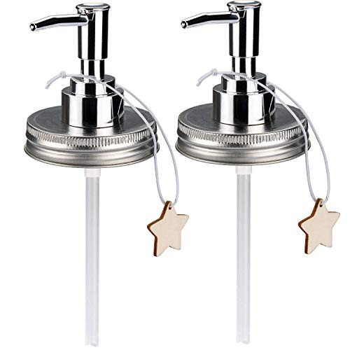 Sumille 2 Pack Mason Jar Soap Dispenser Lid Plastic Lid Dispenser for Any Regular Mouth Mason Jar foaming soap Dispenser Pump Replacement Set for Kitchen Bathroom Decor ()