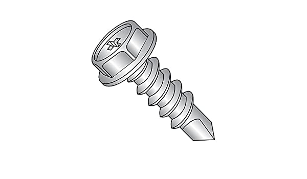 3 Length Pack of 25 Small Parts 0848KPW Pack of 25 Zinc Plated Finish #2 Drill Point 3 Length Phillips Drive Steel Self-Drilling Screw Hex Washer Head #8-18 Thread Size
