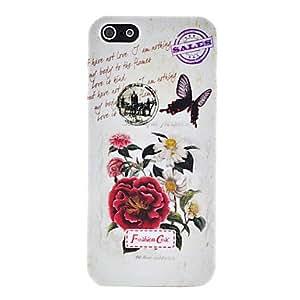 TY-Flores retro y carcasa de plástico patrón de mariposa para el iphone 5/5s