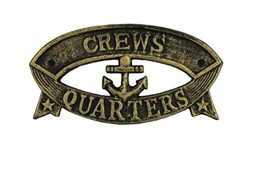 Cheap Hampton Nautical Cast Iron Crews Quarters Sign Metal Wall Plaque, 9″, Antique Gold