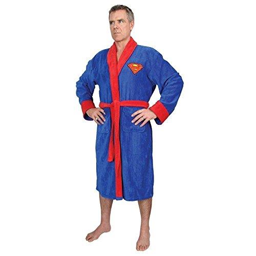DC Comics Superman Mens Fleece Bath Robe, Blue, One Size (Superman: Man Of Steel Cape)
