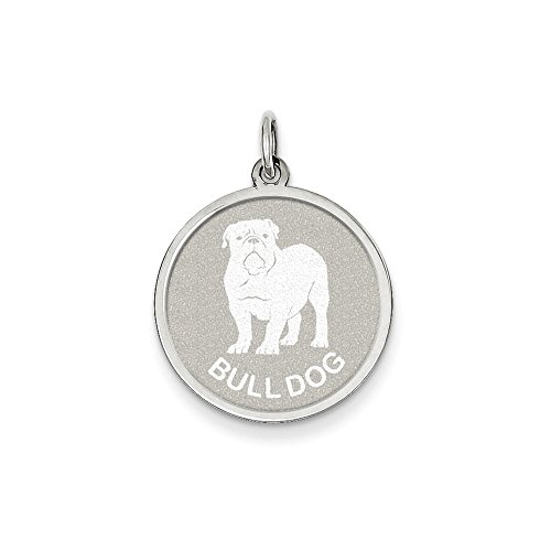 Sterling Silver Bull Dog Disc Charm (26 x 19mm) (Charm Bulldog Disc)