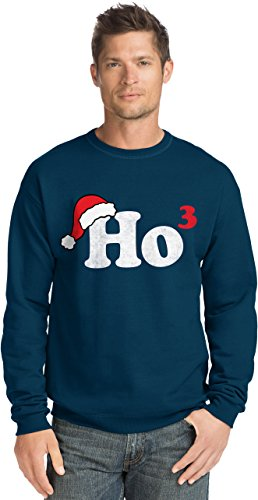 Hanes Men's Ugly Christmas Sweatshirt,Ho Cubed/Navy,Large -