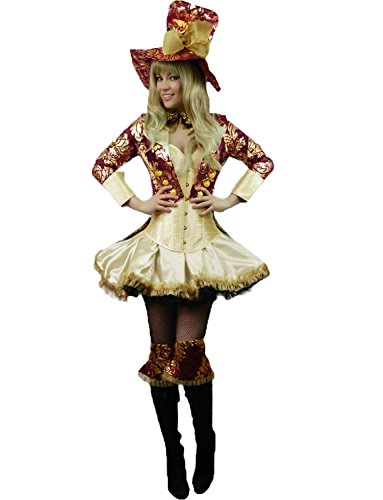 Yummy Bee Womens Fairytale Hatter Tea Party Deluxe Costume 6 - 8 (Sexy Mad Hatter Costumes)