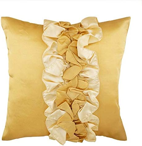 The HomeCentric Decorative Gold European Pillow Shams 26×26 inch 65×65 cm , Satin Euro Pillow Shams, Solid Color, Modern European Sham Pillow Covers – Vintage Honey