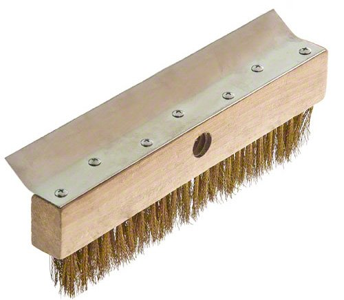 Update International 38-Inch Pizza Oven Brush 6 Pizza oven brush with wooden handle Features a brass bristle brush that will not scratch oven interior It has brush head metal scraper to remove baked-on dough residue from the grates