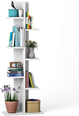 Giantex 7-Tier Bookshelf, Multipurpose Storage Shelf Space-Saving Bookcase Wood Display Shelf Stand for Books Photos Artwork, Pot Plant, Storage Holder Rack w 8 Open Well-Arranged Shelves, White