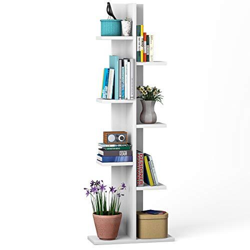 Giantex 7-Tier Bookshelf, Multipurpose Storage Shelf Space-Saving Bookcase Wood Display Shelf Stand for Books Photos Artwork, Pot Plant, Storage Holder Rack w 8 Open Well-Arranged Shelves, White