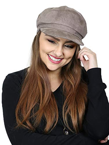 Newsboy Cap for Women Cancer Headwear Chemo Hat Cabbie Head Coverings Vegan Suede for Small Heads (Taupe)