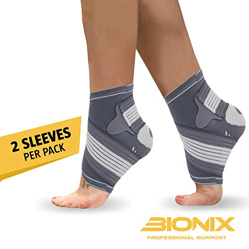 Ankle Support Brace - Adjustable Foot Compression Sleeve Strap Socks | for Arthritis, Achilles Tendonitis, Sprained Heel Lift, Ligament Damage, Arch Supports | Sports Running for Men Women (Medium)