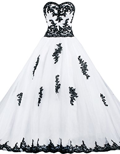 ANTS Women's Strapless Ball Gown Wedding Dresses For Bride With Black Lace Size 26W US Ivory