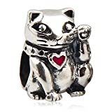 Everbling Lucky Cat Pink Enamel 925 Sterling Silver Charm Fits Pandora Charm Bracelet