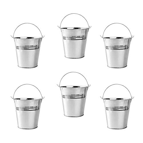 Tin Ice Bin Mini Metal Bucket Tinplate Tin Pails for Icing French Fries 6pcs Mini Fashion-Forward Designs with Impeccable Craftsmanship. for Durable and Long-Lasting Use