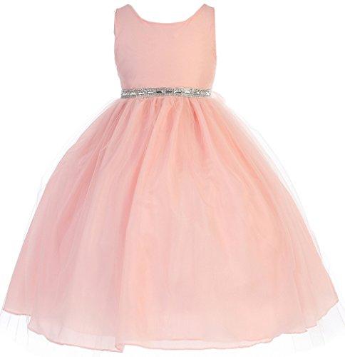 Silk Shantung Flower Girl Dresses - AkiDress Silk Shantung Round Neck Sleeveless Flower Girl Dress for Big Girl 31-4 Blush 12