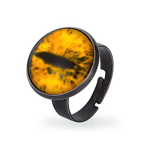 (GANG SHI DAI Stainless Steel Biker Ring, Men's Evil Eye Band, Vintage, Yellow)