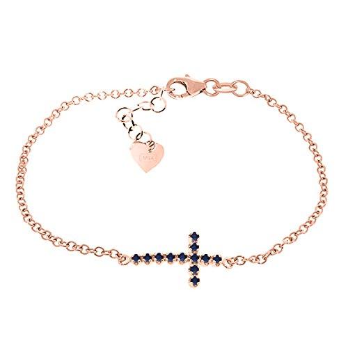 QP bijoutier saphir naturel Bracelet en or Rose 9 carats-rond 5017R EGL