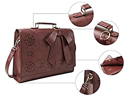 ECOSUSI Ladies Faux Leather Briefcase Shoulder Laptop Messenger Bags Satchel Bag Brown Fit 14\