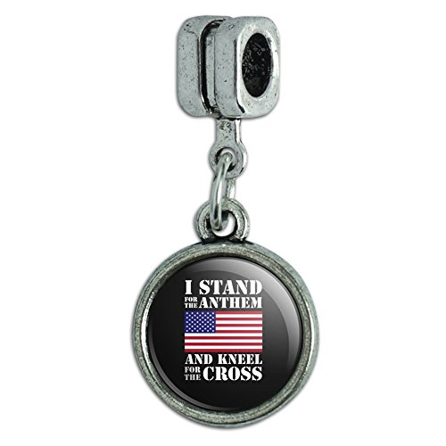 GRAPHICS & MORE I Stand for The Flag Kneel Cross USA American Flag Patriotic Italian European Style Bracelet Charm Bead