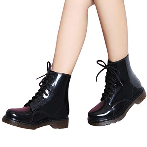 Estimadas Botas De Lluvia De Tobillo Con Cordones Time Mujer Candy Colors Black