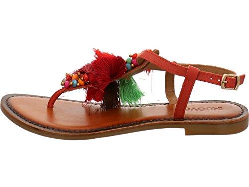 Inuovo 7363 - Sandalias de vestir de Piel para mujer Rojo