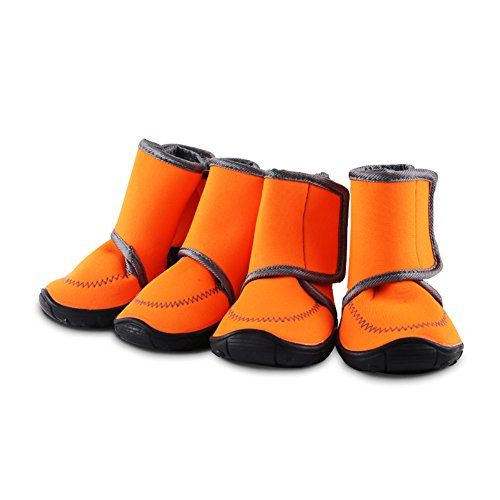 HAVEGET Waterproof dog shoes Fluorescent orange dog boots Velcro and Rugged Anti-Slip Sole Paw Protectors for All Weather Comfortable Easy to Wear Suitable for Large dog (XL, ORANGE)