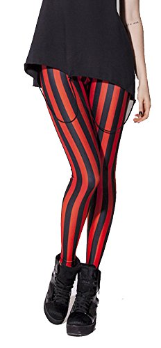 QZUnique Women's Red And Black Stripe Print Fashion Shaping Sexy Leggings,Red And Black Stripe,One -