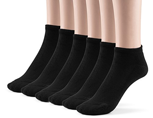 Silky Toes Kids Bamboo Low Cut Cushioned Socks (Extra Large (10-13), Black)