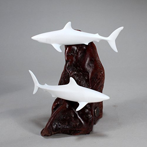 Mako Shark Duo Sculpture New Direct by John Perry Pellucida Statue 6in Long ()