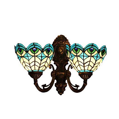 Yd&h Tiffany Style Wall Lamp,6-inch Peacock Feather Design/Blue Glass Corridor Lights,Bath Mirror Front Light Bedroom Living Room Club Wall Sconces,MAX 30W
