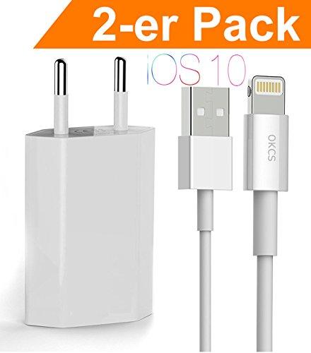 OKCS iPhone Ladeset 2-er Pack - Ladekabel / Datenkabel / Lightningkabel + 1A USB Netzteil für iPhone 7, 7 Plus, 6s, 6s Plus, 6, 6 Plus mit Lightninganschluß - in Weiß