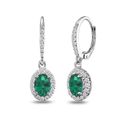 Sterling Silver Simulated Emerald Oval Dangle Halo Leverback Earrings with White Topaz Accents