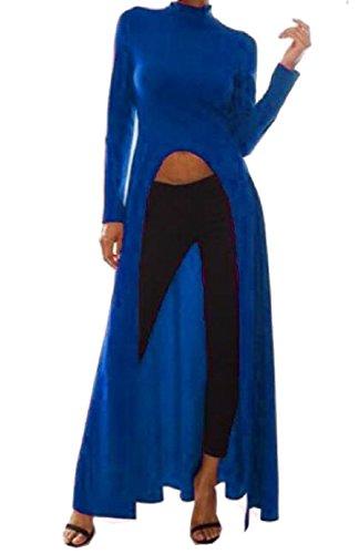 Comfy Big Womens Pendulum Neck Slit Dress Umbilical Lu Blue Front High xp1rq1UWn6