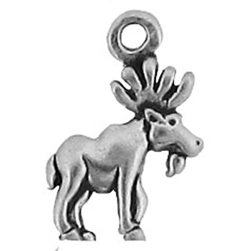 Sterling Silver Mini Right Facing Moose Dangle Charm Bead For Bead Charm Bracelet With Antlers