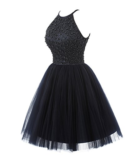 Ubridal Short Beading Keyhole Back Tulle Homecoming Dresses Prom Gowns Navy 4 by Ubridal (Image #2)