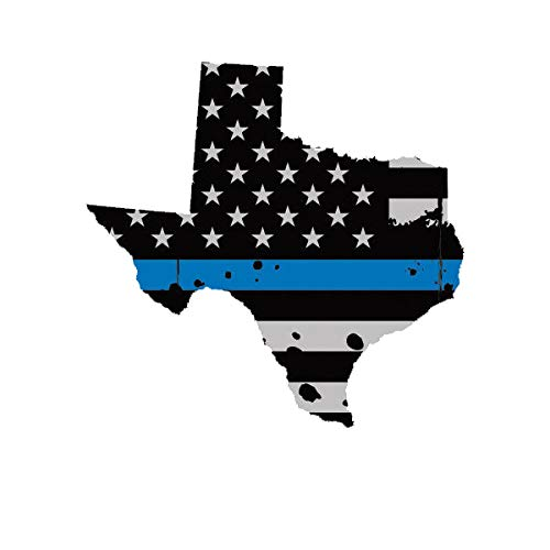(Morgan Graphics Distressed Texas State Shaped Subdued US Flag Thin Blue Line Sticker Police TX Vinyl Decal Sticker Car Waterproof Car Decal Bumper Sticker 5