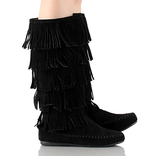 Suede Faux Style Young Moccasin Fringe Aloud Lolli Black88 Boot Couture 6qtWcSyI