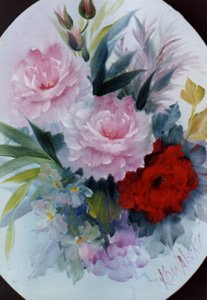 How-to Painting Packet Red and Pink Roses in an Oval