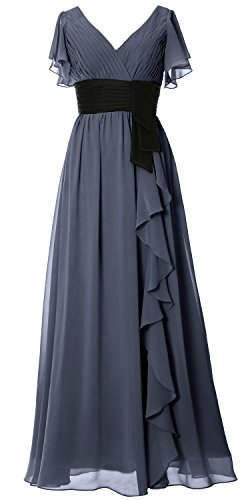 MACloth Women V Neck Short Sleeve Long Bridesmaid Dress Mother Formal Party Gown Steel Blue