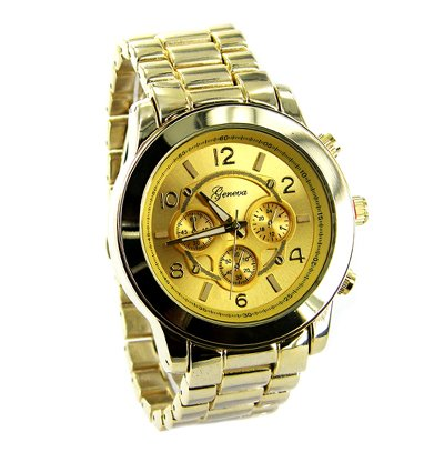 Geneva Platinum Men's Brushed Finish Link Watch-Gold