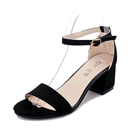 PUMPS mit Dicken Ferse Sandalen,Schwarze Studenten mit Nackten Zehen Schuhe,ein Wort Schnalle mit Römischen Absätzen-A Fußlänge=23.3CM(9.2Inch)