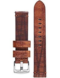 Bizon Brown 24 mm Calfskin Watch Band Bison Embossed Leather Watch Strap Bracelet